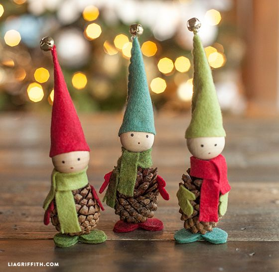 Felt and Pinecone Elves