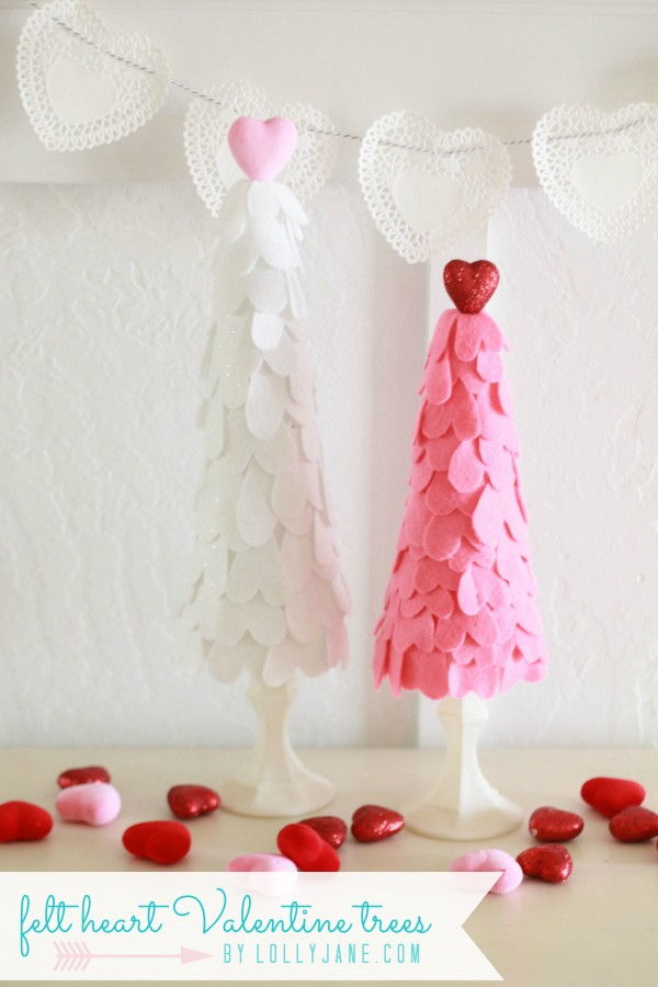 DIY Felt Heart Valentine Trees