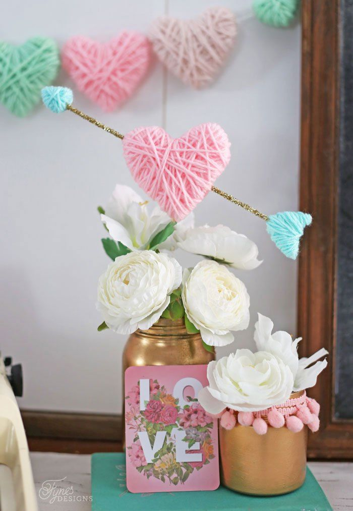 DIY Yarn Wrapped Hearts