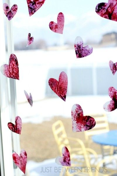Valentines Day Craft for Kids - Stained Glass Hearts