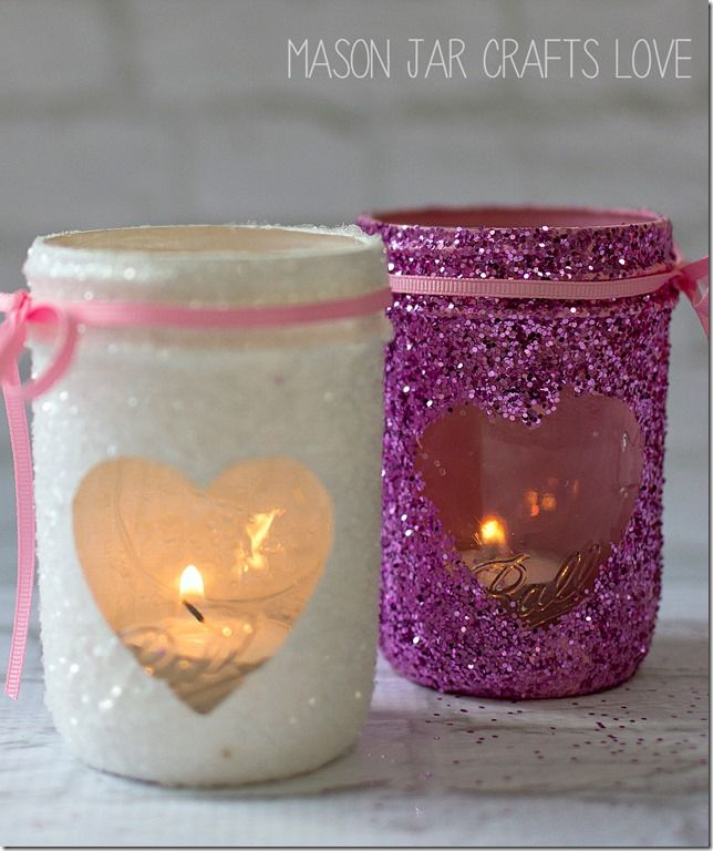 DIY Valentine Glitter Votives