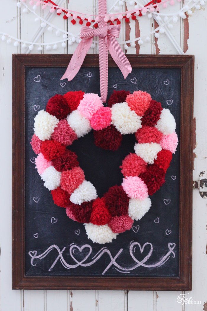 DIY Pom Pom Heart Shaped Wreath