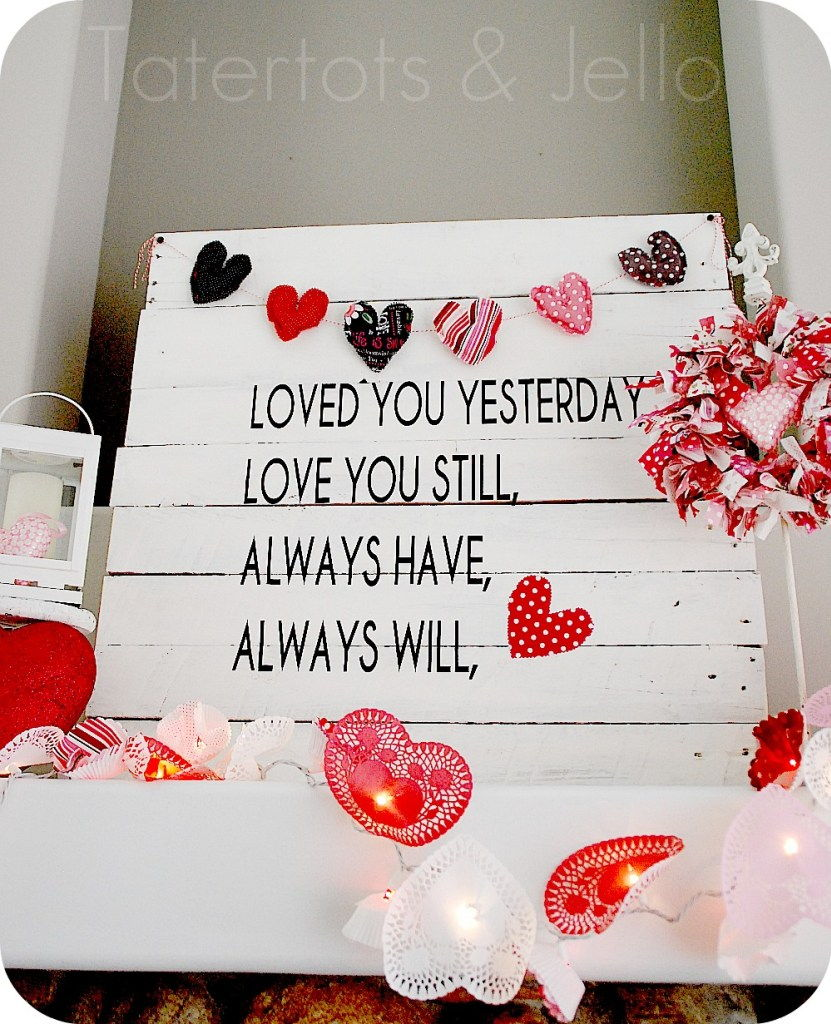 Valentine's Day Pallet Art and Doily Mantel